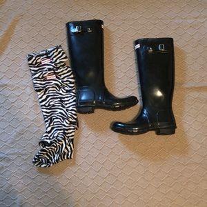 Hunter rain boots with zebra socks!
